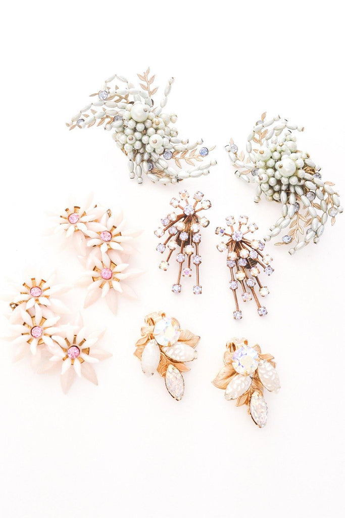 Beaded Statement Crawler Clip-on Earrings