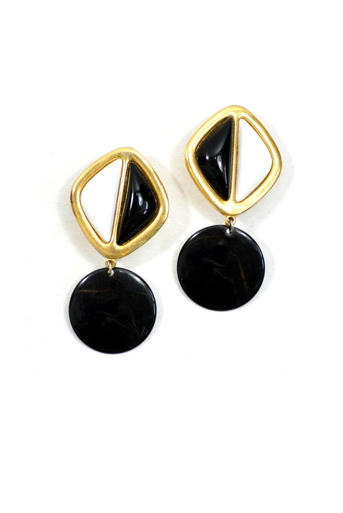 80's__GJD__Colorblock Drop Clip-On Earrings