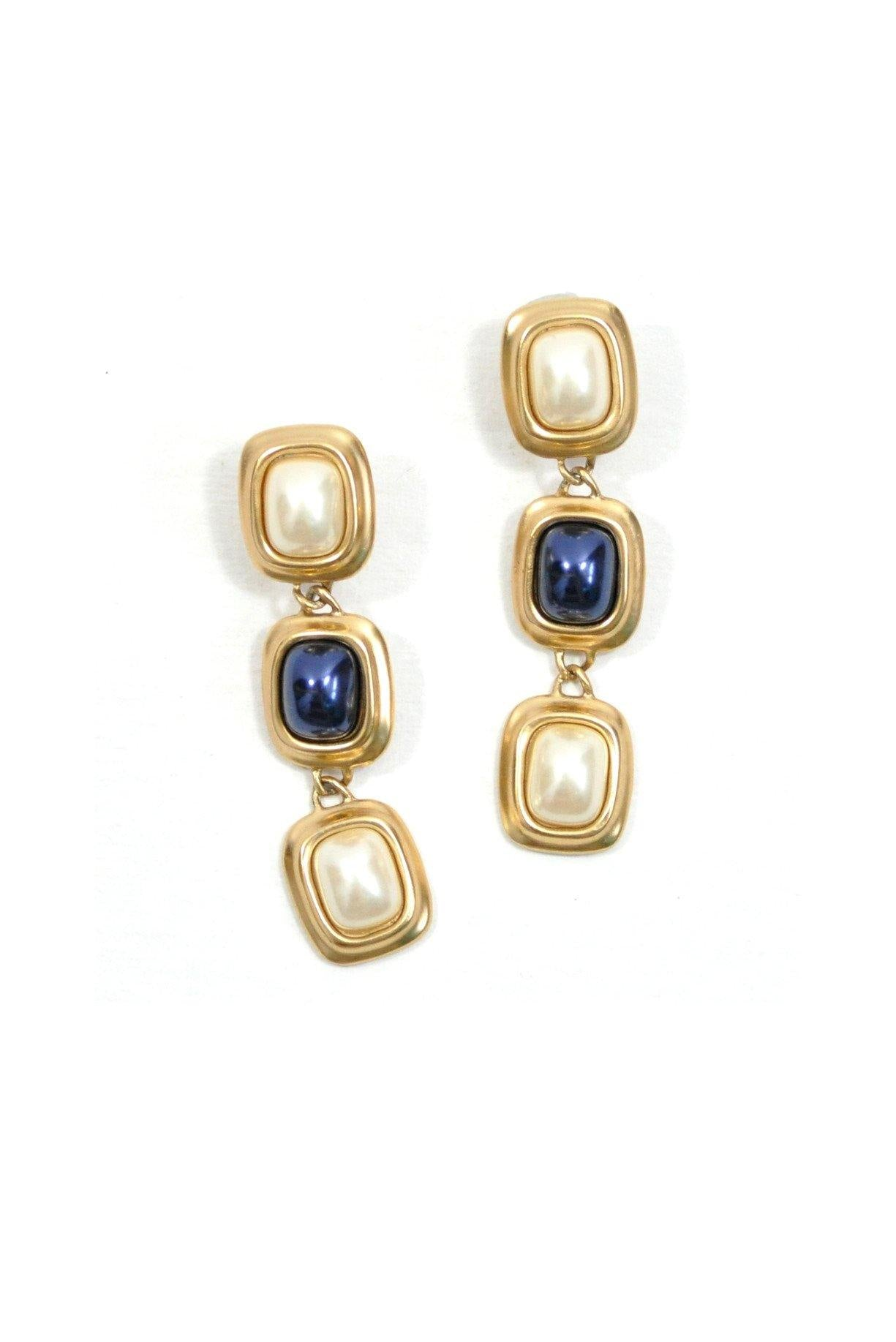 80's__Liz Claiborne__Statement Drop Clip-On Earrings