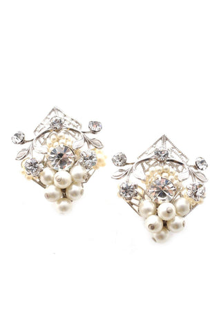 50s__Vintage__Statement Pearl & Rhinestone Clip-On Earrings