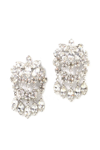 60s__Vintage__Rhinestone Drop Clip-On Earrings