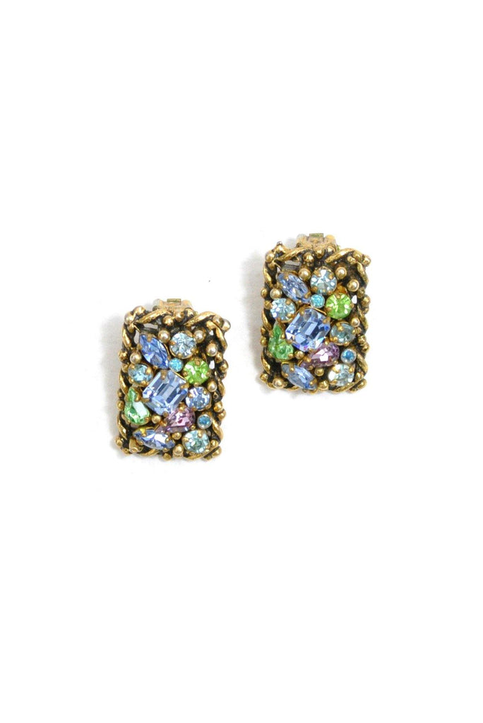 60's__Vintage__Statement Rhinestone Clip-On Earrings