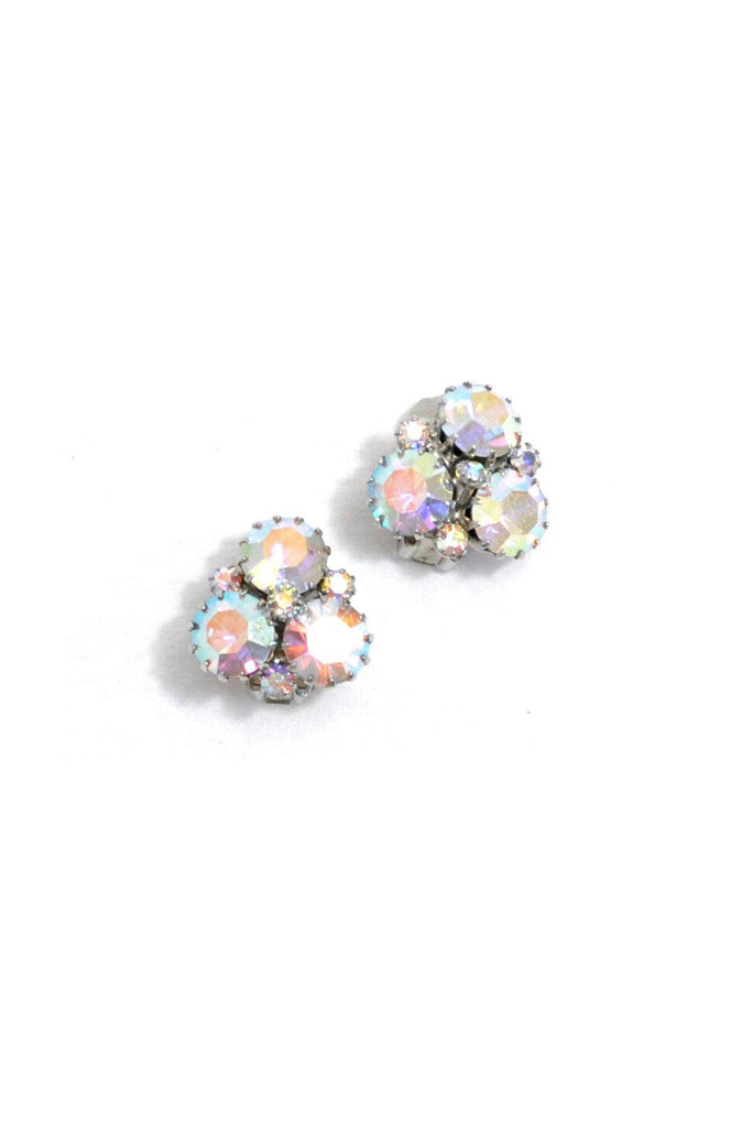 60's__Weiss__Iridescent Rhinestone Clip-On Earrings