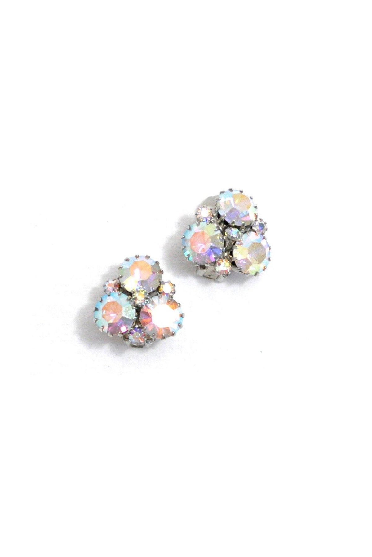 60's Weiss Iridescent Rhinestone Clip-On Earrings