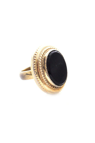 Adjustable Onyx Cocktail Ring