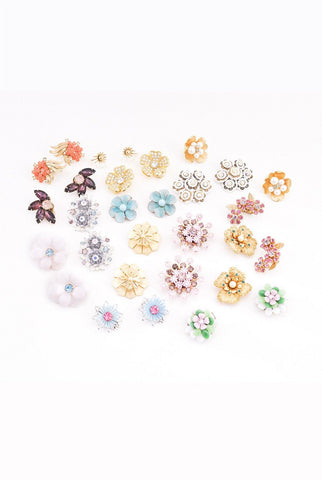 Blue & Pink Floral Clip-on Earrings