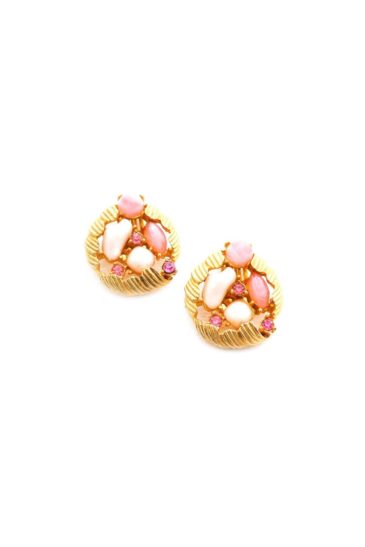Pink Stone Clip-on Earrings