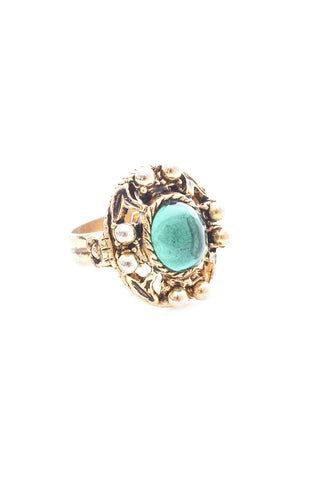 Adjustable Teal Gem Ring