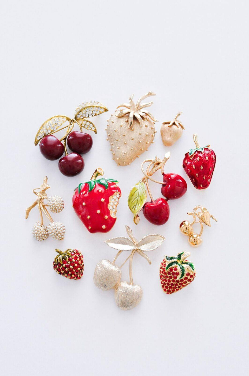 Vintage Trifari Gold Strawberry Brooch from Sweet & Spark