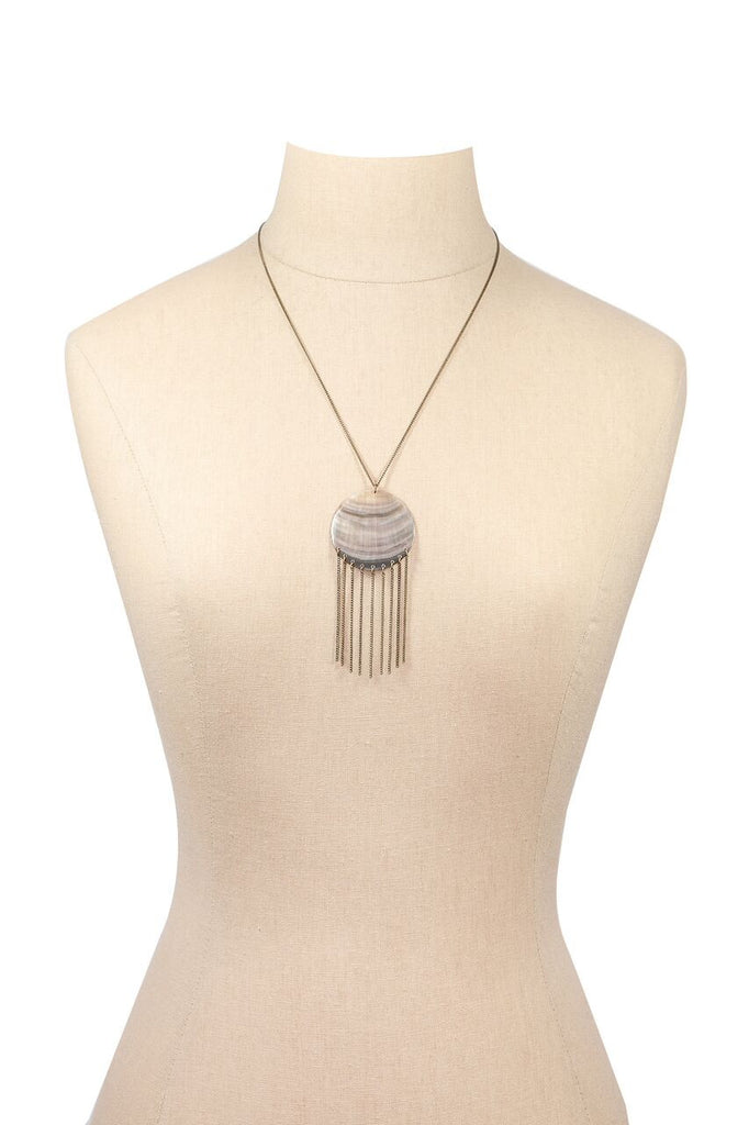 70's__Vintage__Fringed Abalone Pendant Necklace