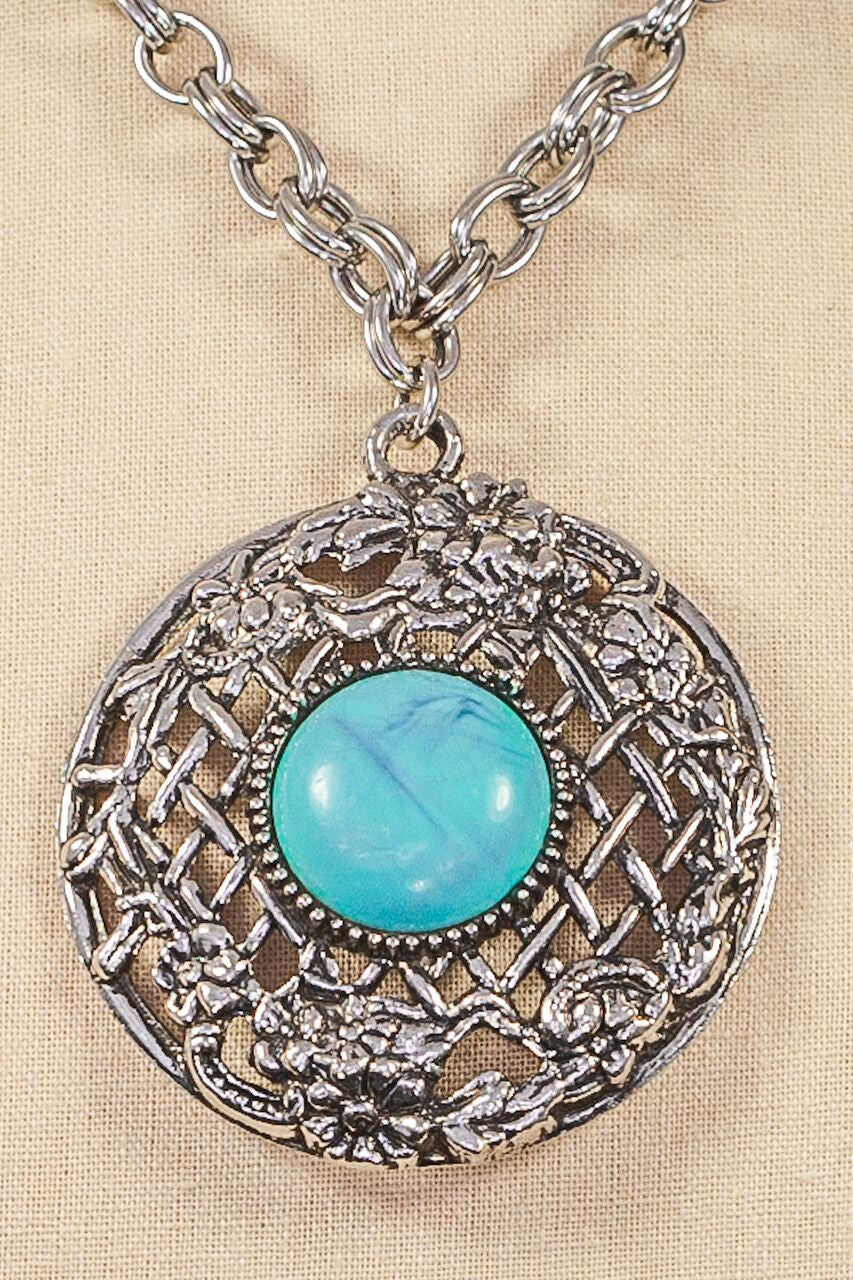 70's__Vintage__Statement Turquoise Pendant Necklace