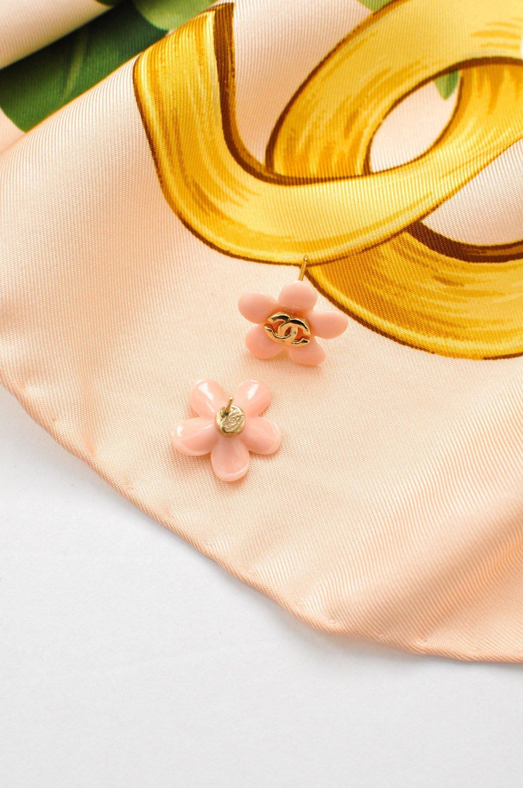 Chanel Pink Floral Pierced Earrings
