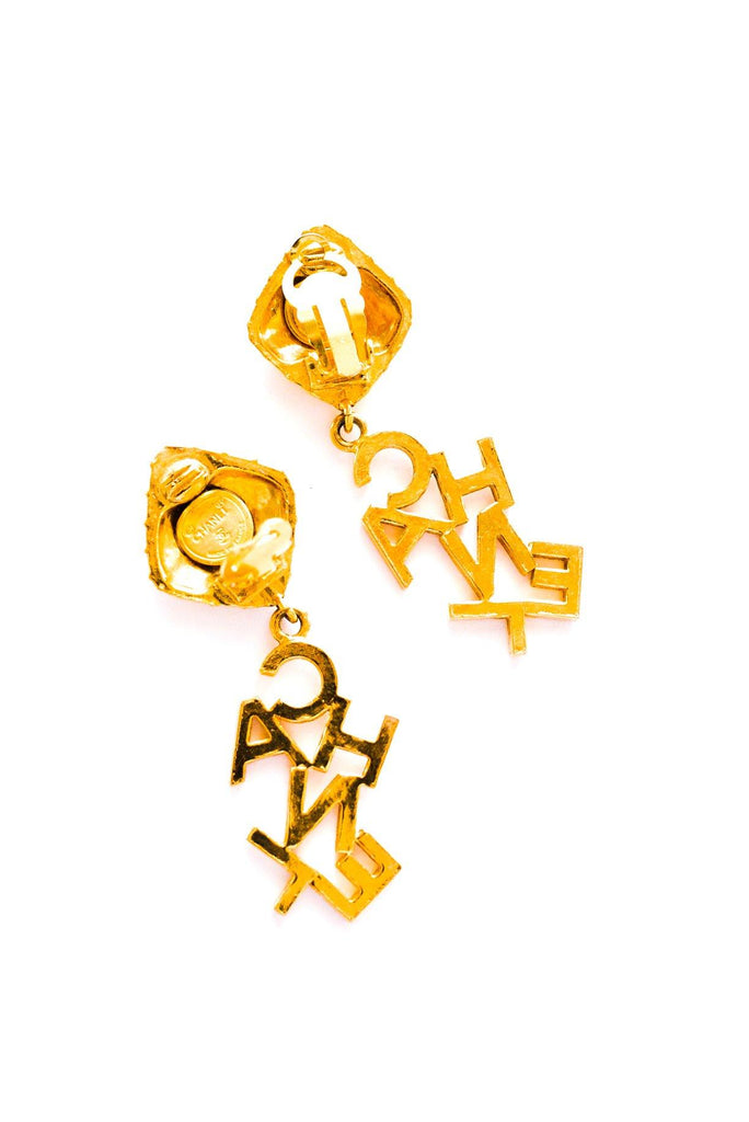 Chanel Logo Drop Clip-on Earrings