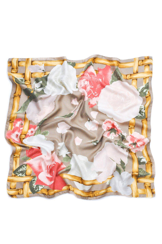 Christian Dior Bamboo Floral Square Scarf