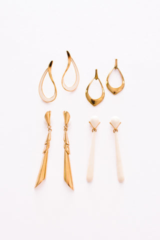 Cream Teardrop Pierced Earrings
