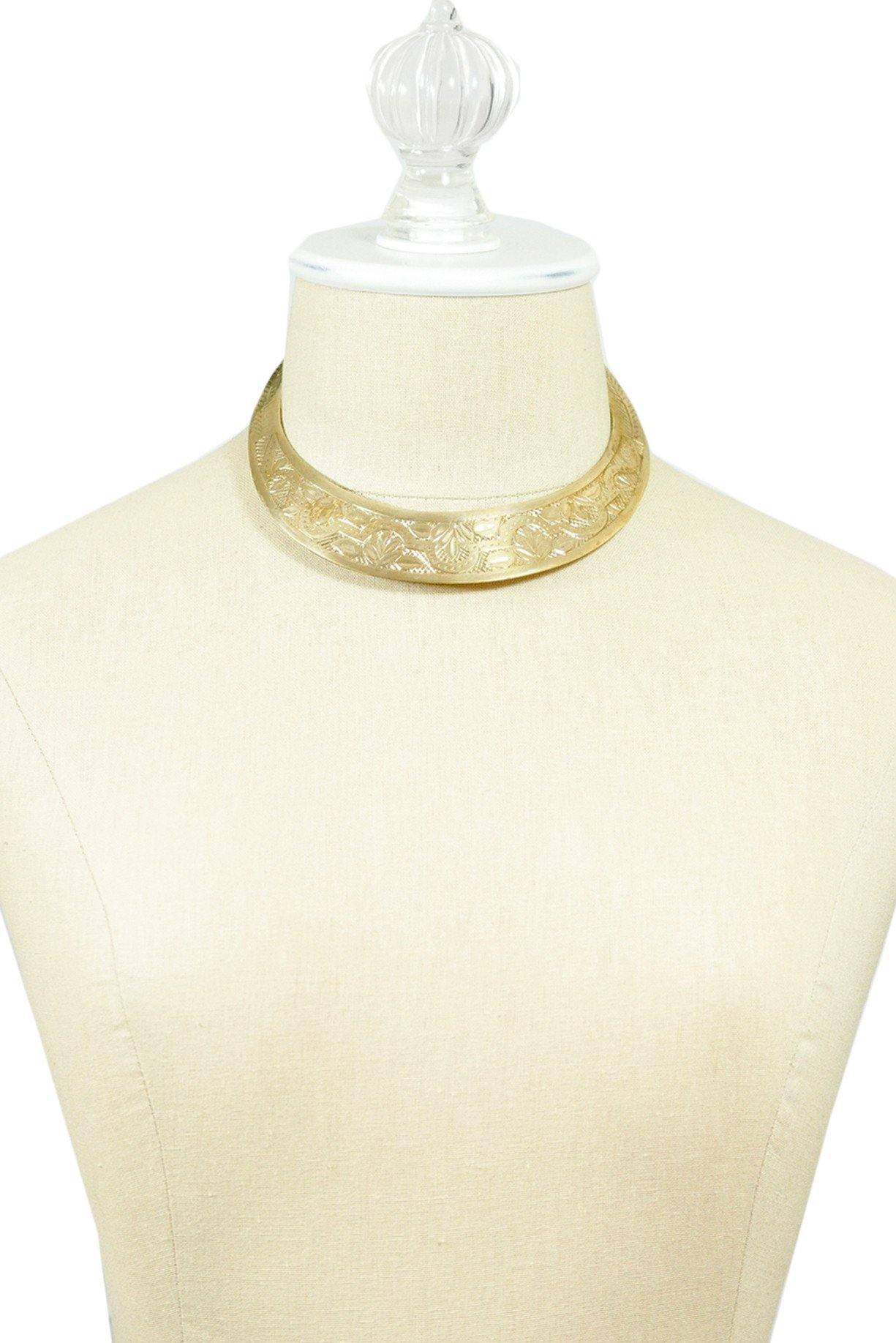 70's__Vintage__Etched Brass Choker Necklace