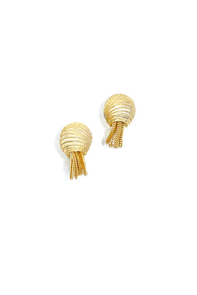 70's__Vintage__Gold Fringe Clip-On Earrings