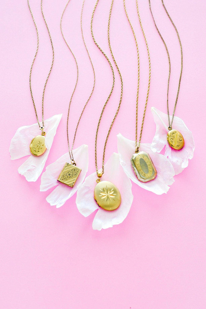 Gold Tulip Locket Necklace
