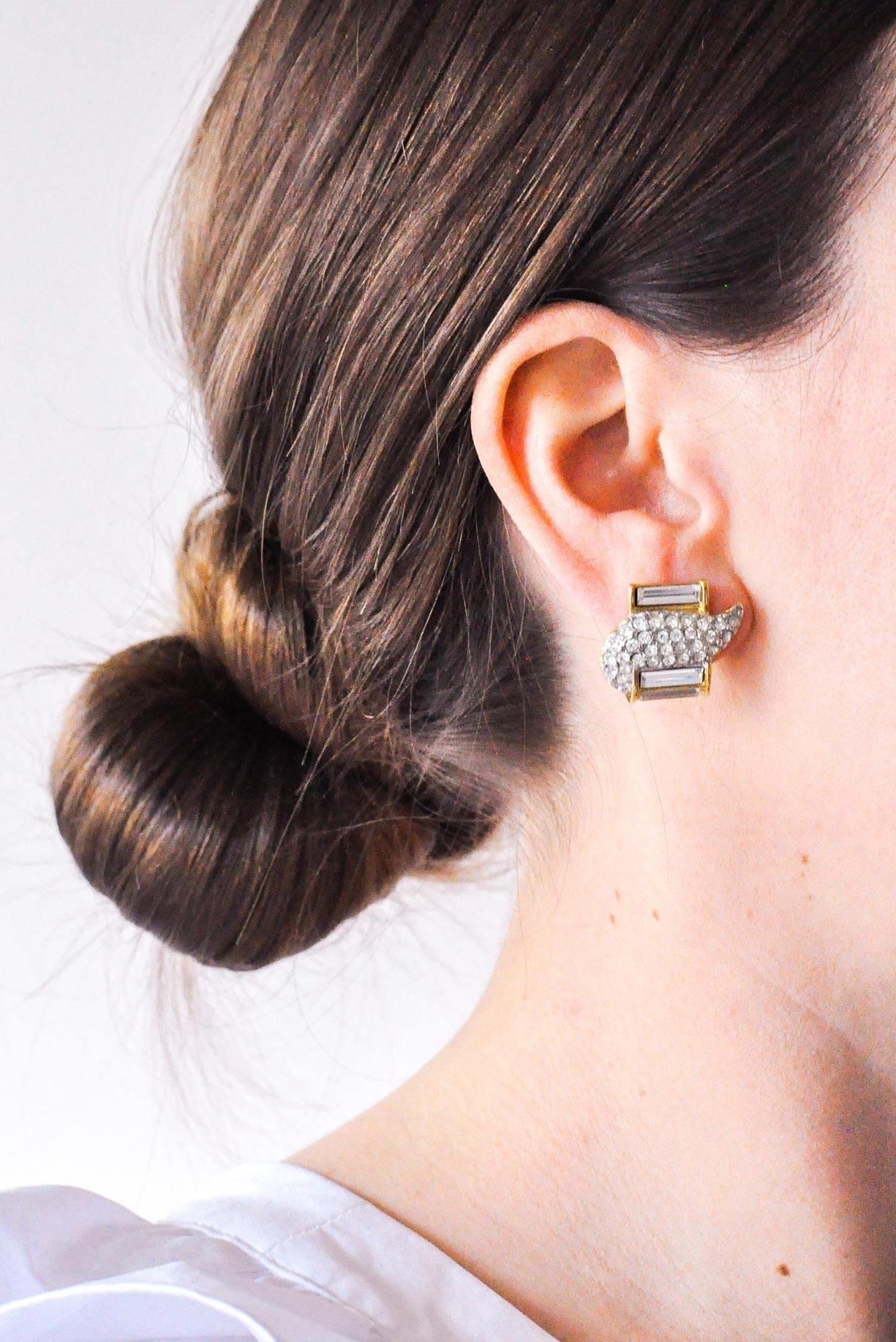 Rhinestone Swirl Pierced Earrings
