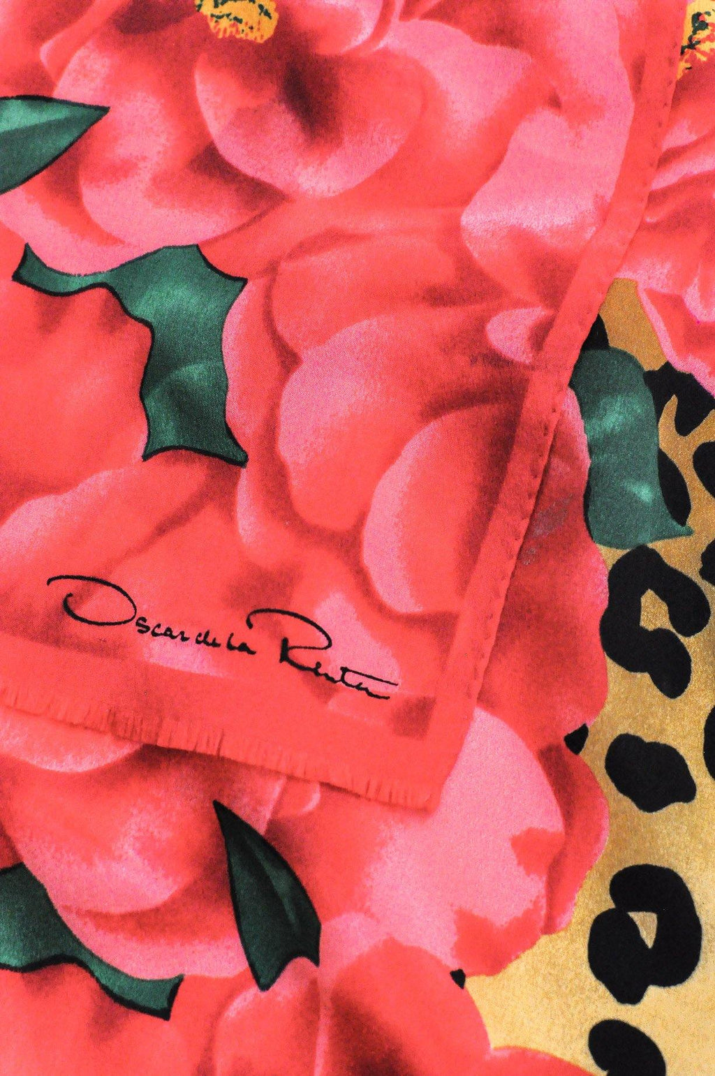 Oscar de la Renta Red Floral & Leopard Rectangle Scarf