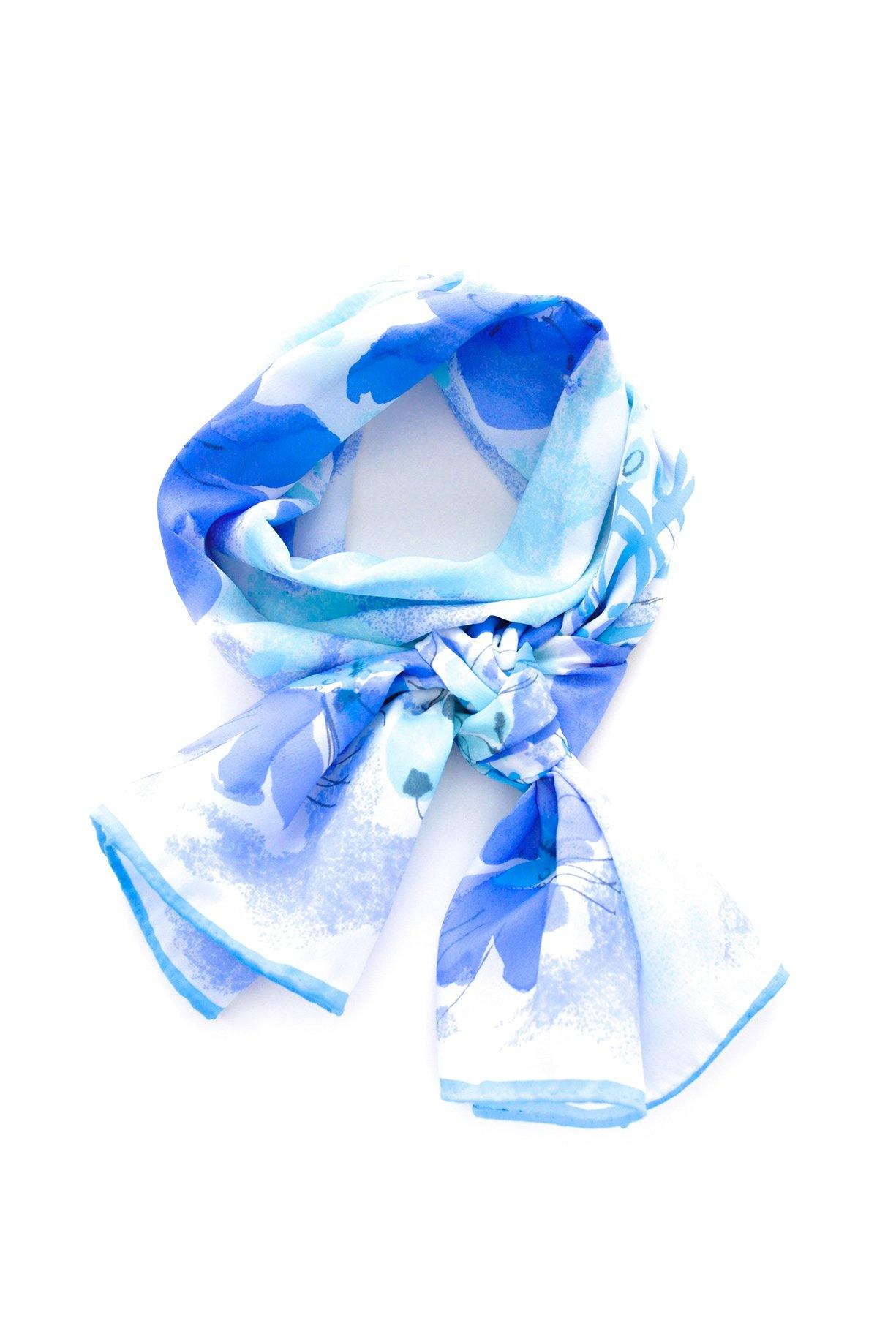 Blue Florals Rectangle Scarf