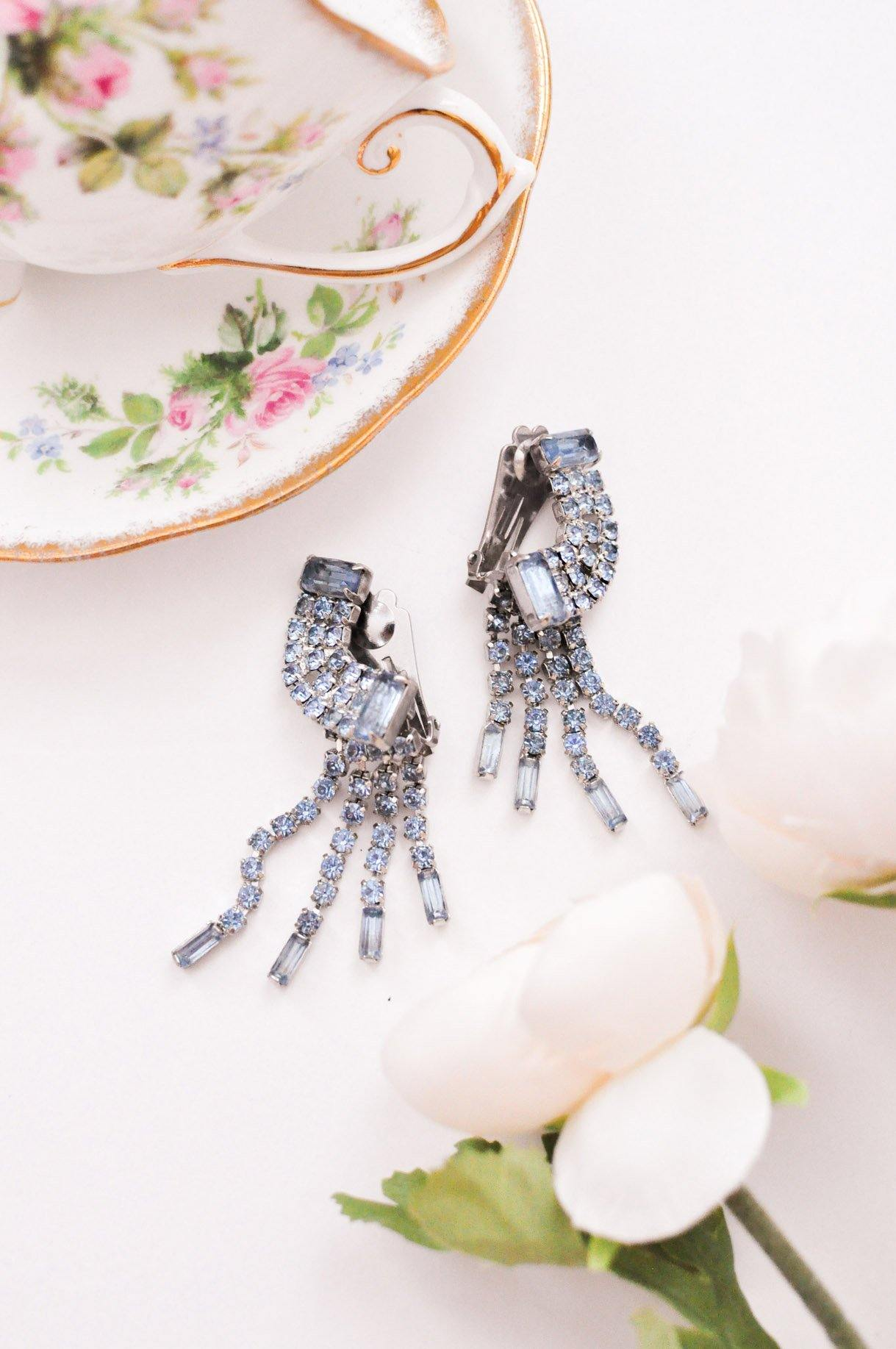 Blue Rhinestone Crawler Clip-on Earrings - Sweet & Spark