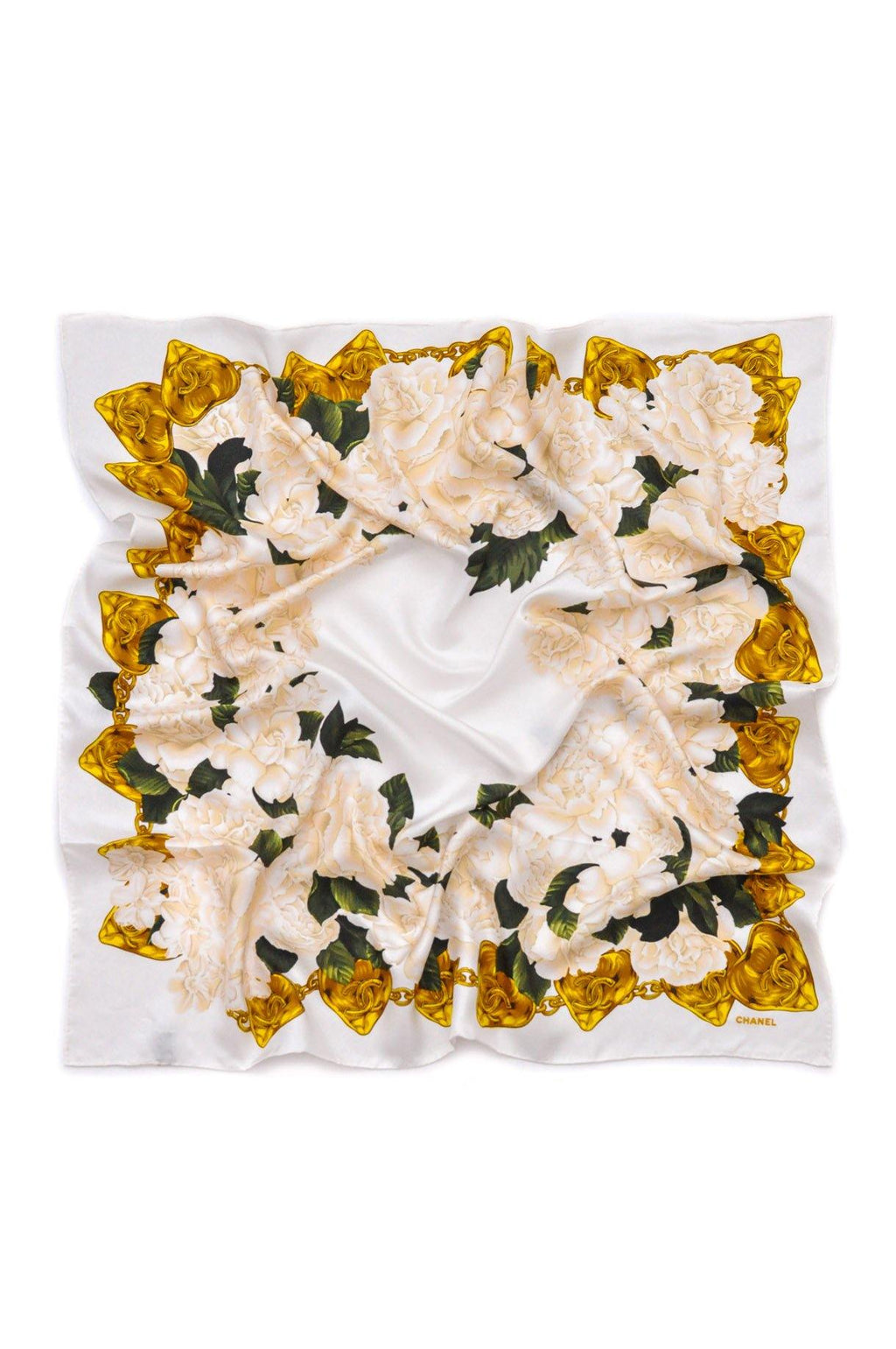 Chanel Heart & White Floral Scarf