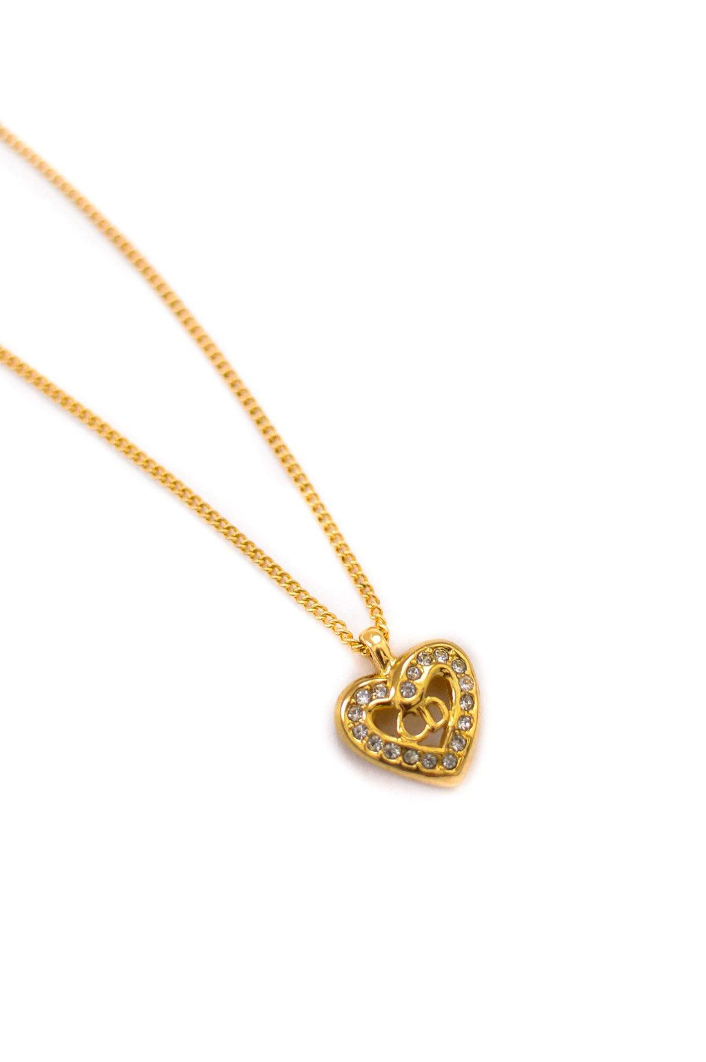 Christian Dior Rhinestone Heart Necklace