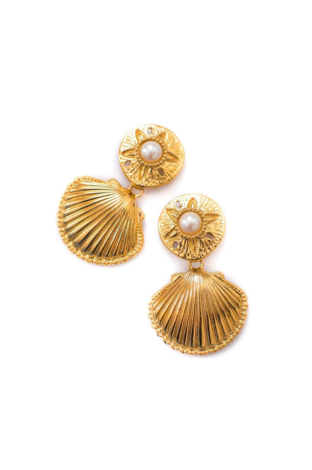 Kenneth Jay Lane Statement Shell Earrings
