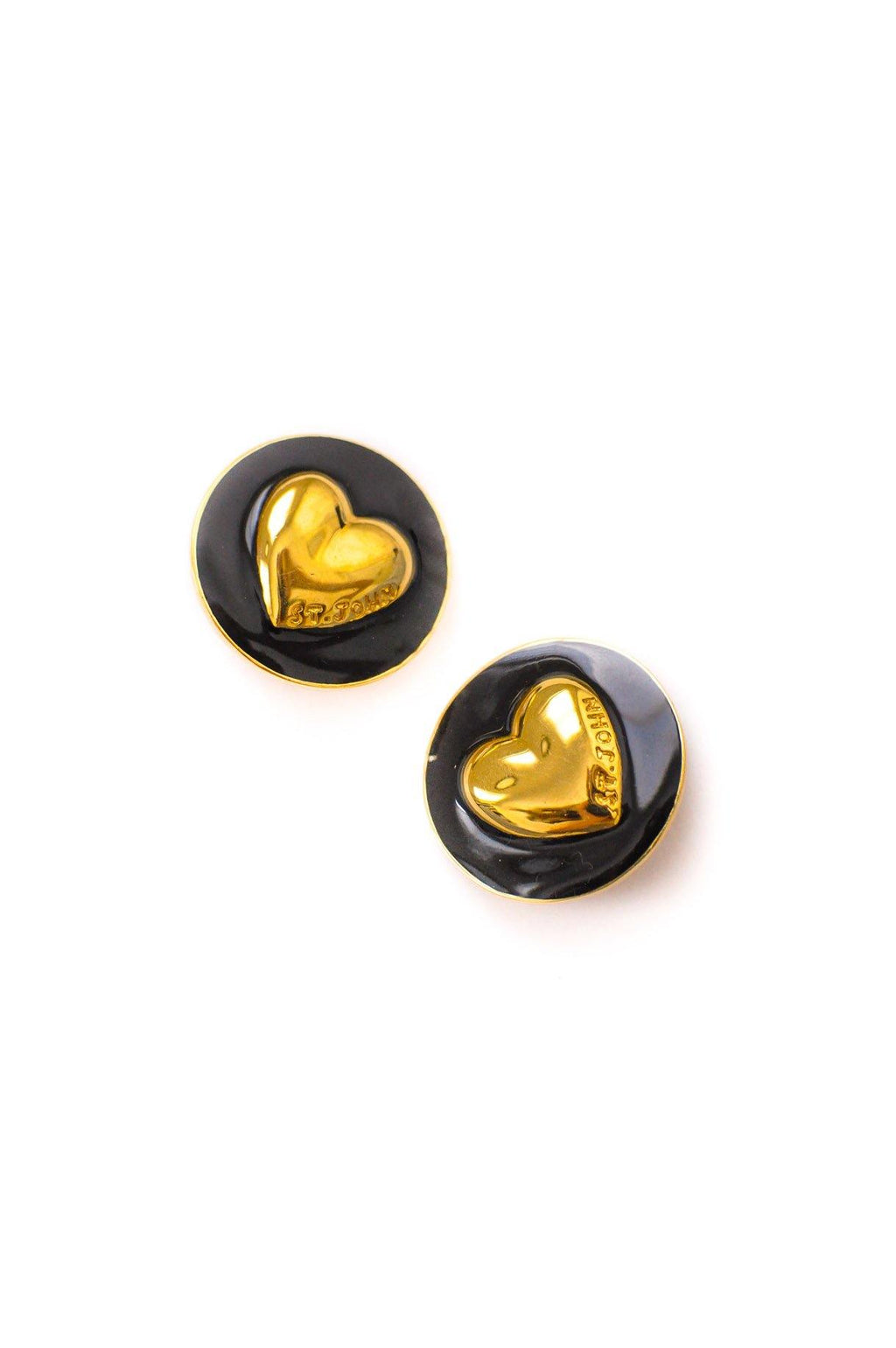 St. John Heart Coin Clip-on Earrings