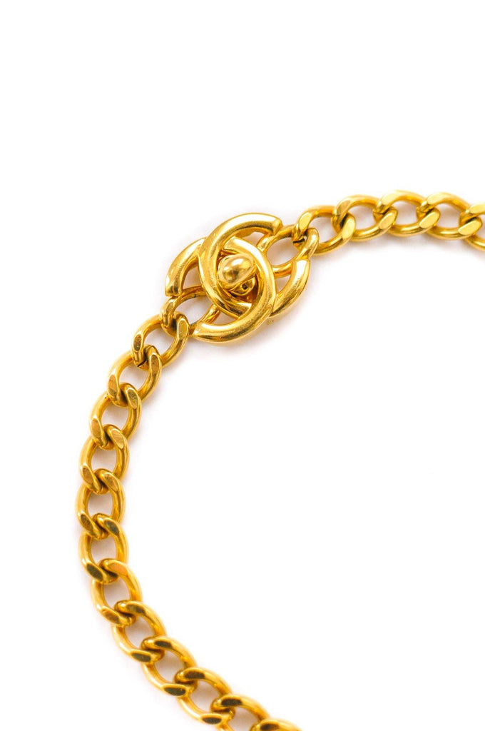 Chanel CC Gold Turnlock Statement Necklace