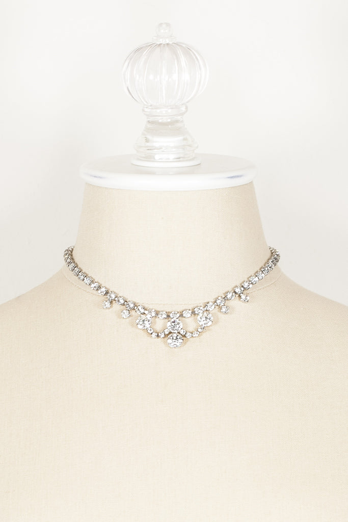 60's__Vintage__Rhinestone Scallop Wedding Necklace