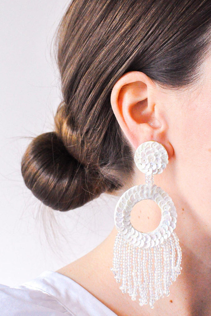 Sequin Statement Pierced Earrings