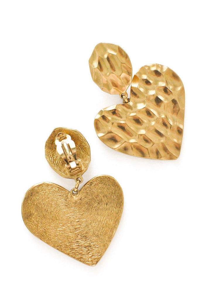 YSL Heart Statement Clip-on Earrings