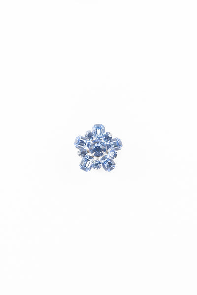 50's__Vintage__Light Blue Rhinestone Floral Pin