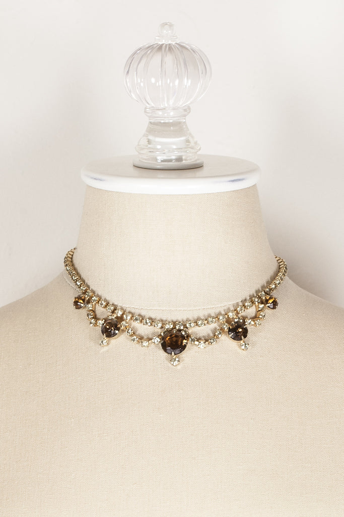 60's__Vintage__Fall Rhinestone Necklace