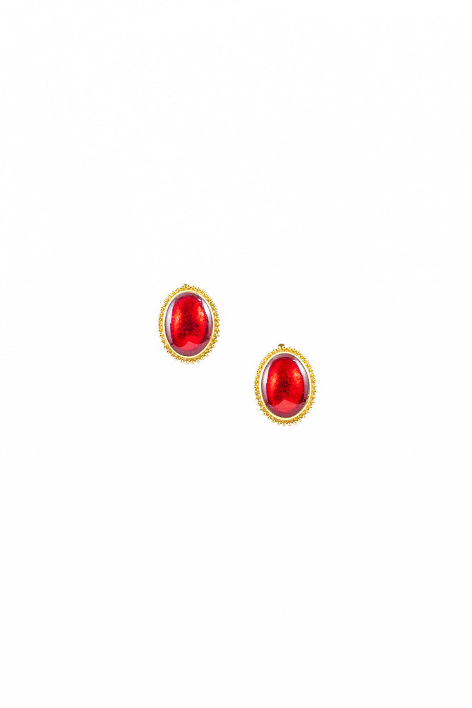 60's__Trifari__Ruby Red Earrings