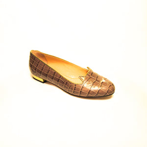 Charlotte Olympia Croc Embossed Kitty Flats