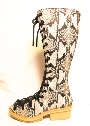 Phillip Lim Mallory Python Print Leather Tall Sandal Boots