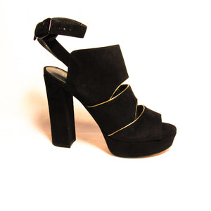 Stuart Weitzman Black Suede Slits Platform In Box Sandals