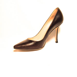 Sergio Rossi Women's Brown Pointed Toe Leather Stiletto Pumps