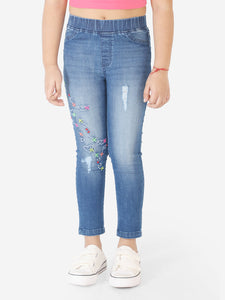 Naughty Ninos Girls Blue Washed Jeggings