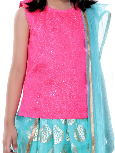 Naughty Ninos Girls Fuchsia & Sea Green Printed Ready to Wear Lehenga & Choli with Dupatta