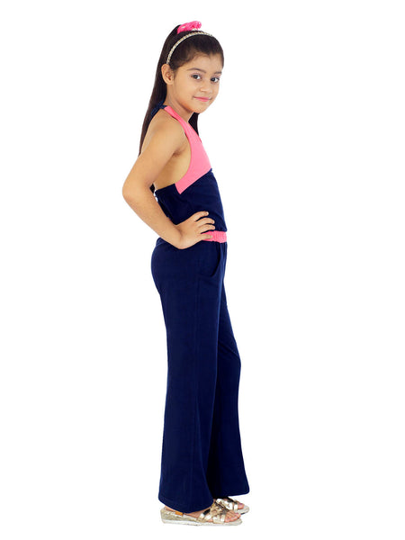 Naughty Ninos Girls Navy & Pink Colourblocked Jumpsuit