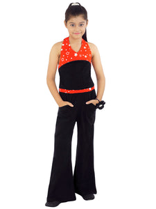 Naughty Ninos Girls Black & Orange Printed Detail Jumpsuit