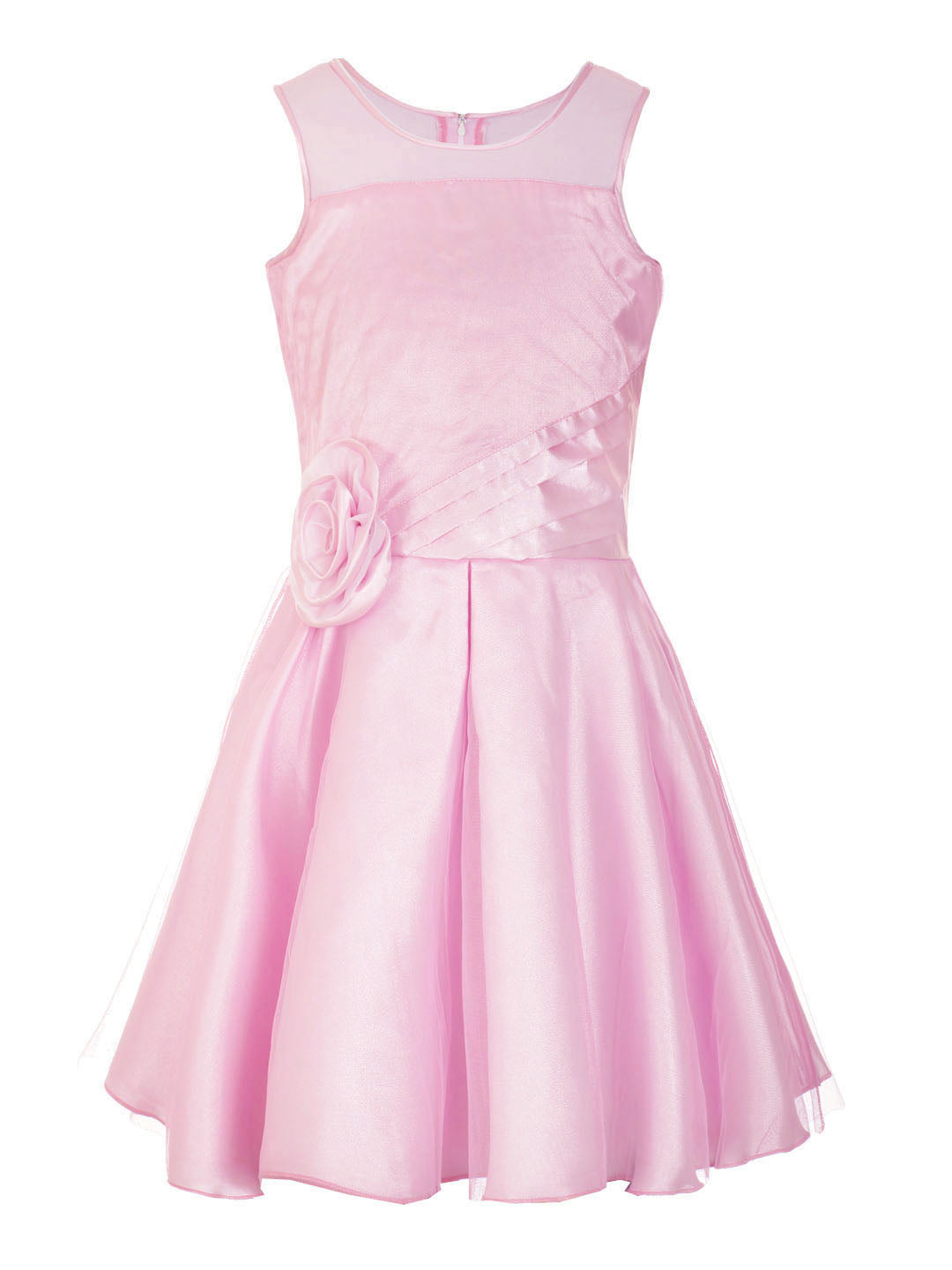 Naughty Ninos Girls Pink Solid Fit and Flare Party Dress