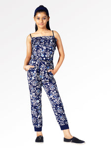 Naughty Ninos Girls Navy Blue & White Printed Basic Jumpsuit