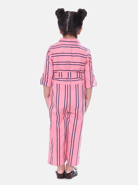 Naughty Ninos Girls Pink Striped Jumpsuit