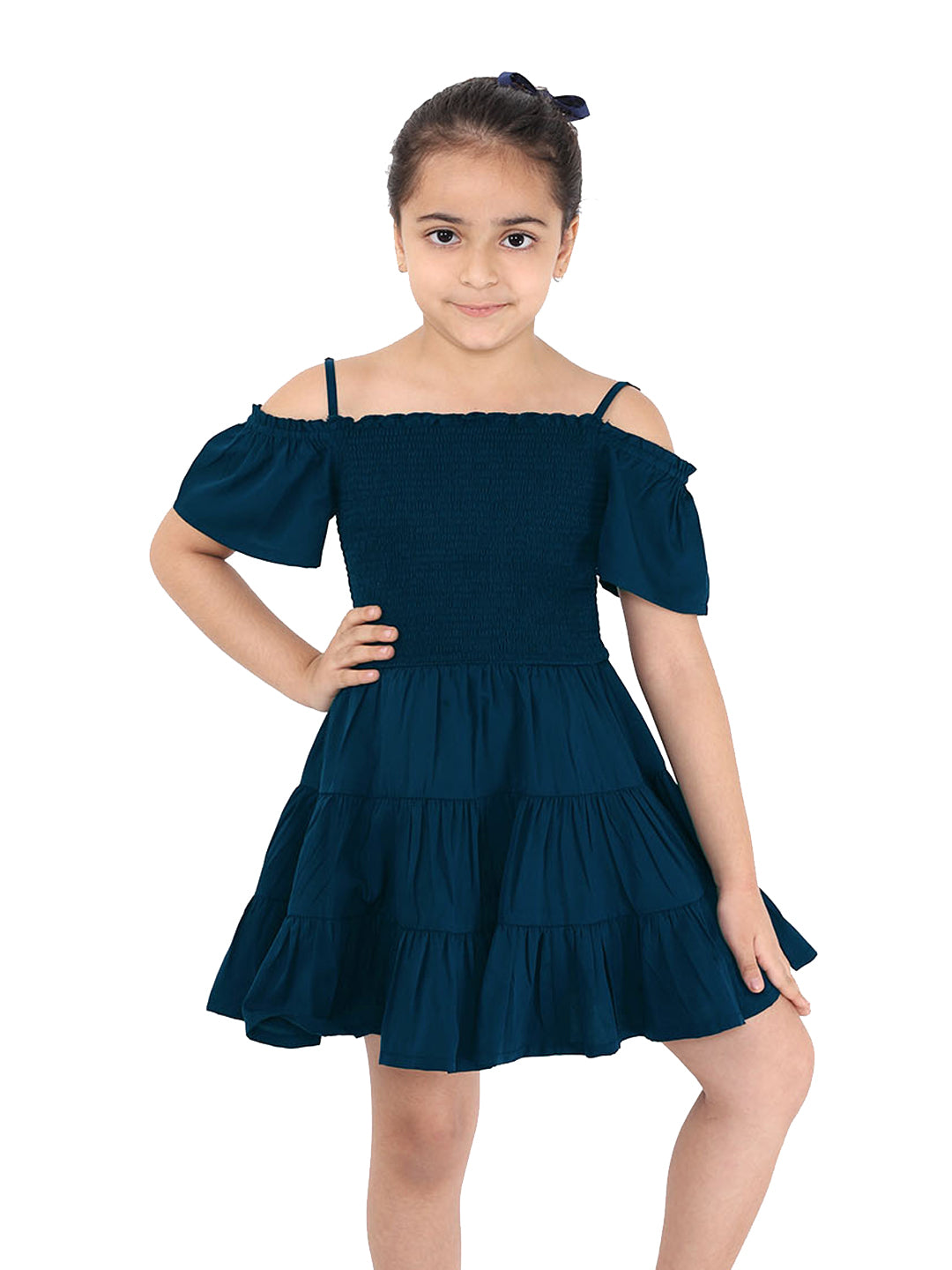 Naughty Ninos Girls Teal Solid Fit and Flared Dress