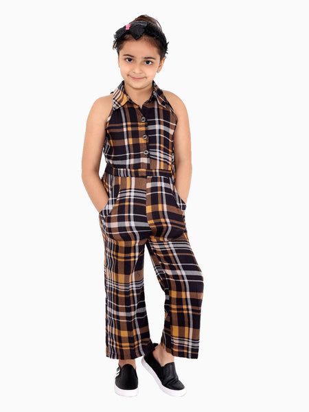 Naughty Ninos Girls Brown & Black Checked Basic Jumpsuit